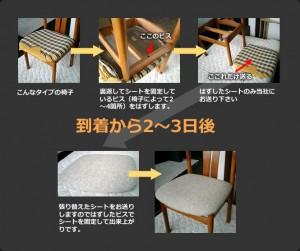 ダイニングチェアー、食卓椅子の座面張替え